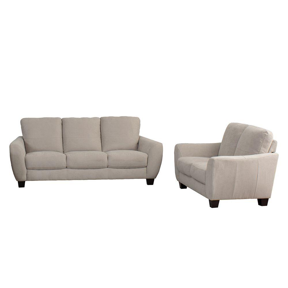 Corliving Jazz 2-Piece Beige Chenille Fabric Sofa Set