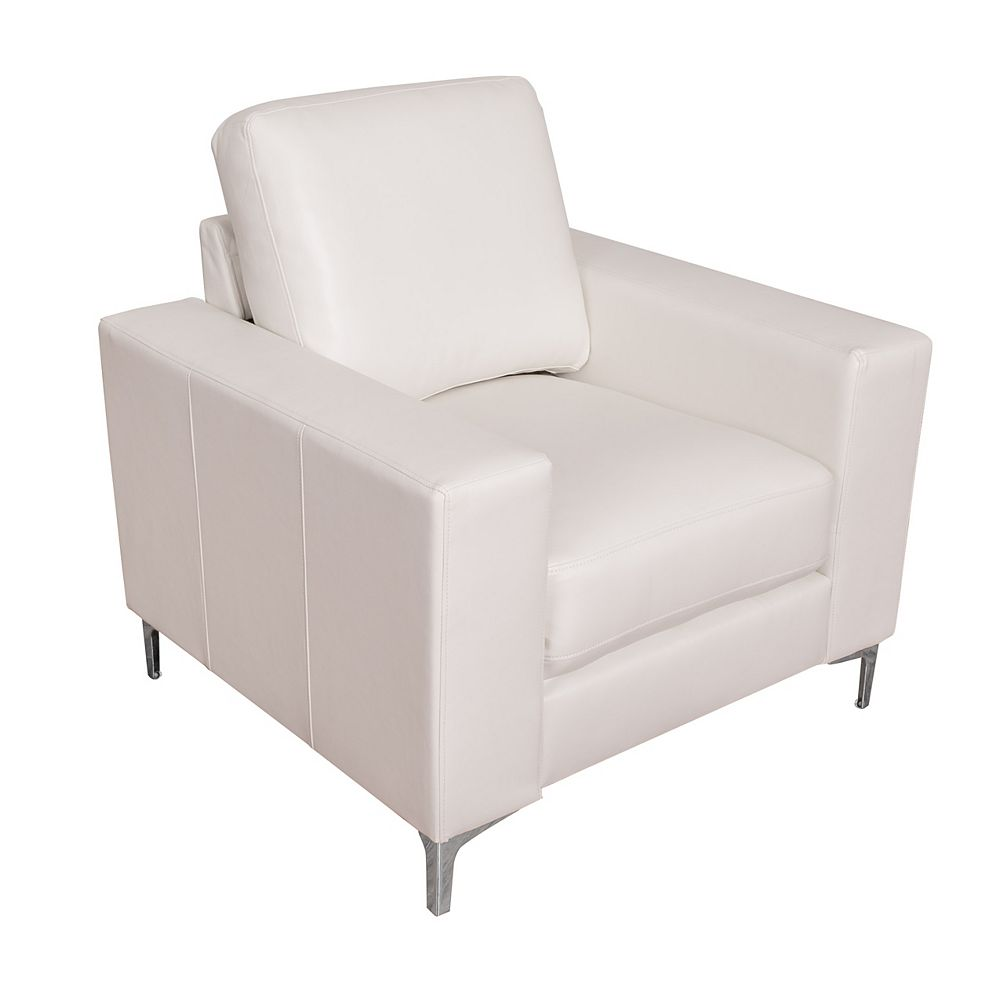 Corliving Cory Contemporary White Bonded Leather Chair