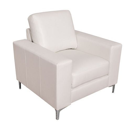 Cory Contemporary White Bonded Leather Chair