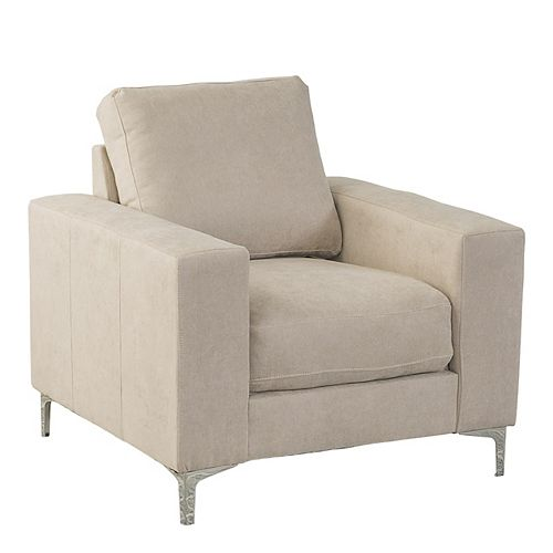 Cory Beige Chenille Fabric Armchair