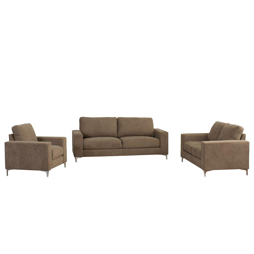 Corliving Cory 3-Piece Contemporary Brown Chenille Fabric Sofa Set