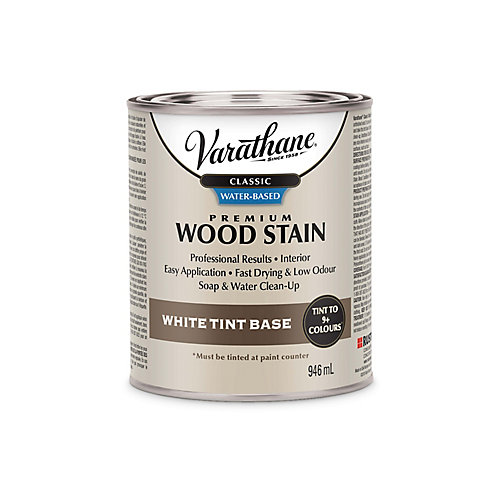 Classic Premium Water-Based Wood Stain White Tint Base - Tintable To 47 Colours, 946 Ml