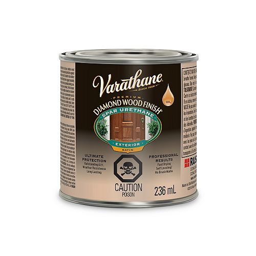 Premium Wood Finish for Outdoor, Oil-Based in Satin Clear, 236 mL