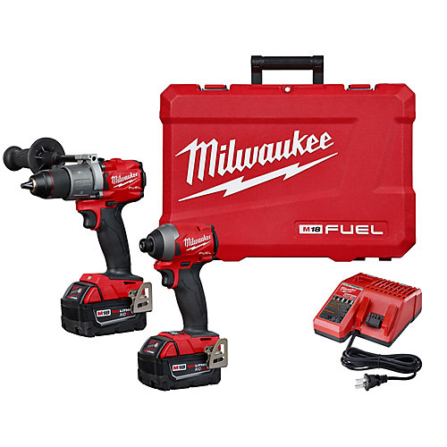 M18 FUEL 18V Lithium-Ion brushless sans fil Perceuse et Impact Driver Kit w / (2) Batteries 5ah