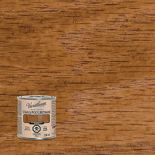 One Step Oil-Based Stain & Polyurethane In Satin Antique Walnut, 236 Ml