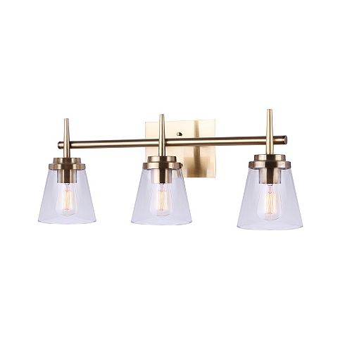 PARISH 3-Light Gold Vanity with Clear Glass