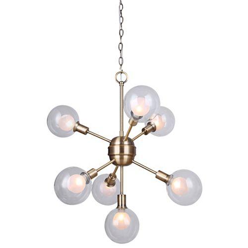 Lustre à 7 ampoules ESTELLA avec globe en verre double, 40 W, or