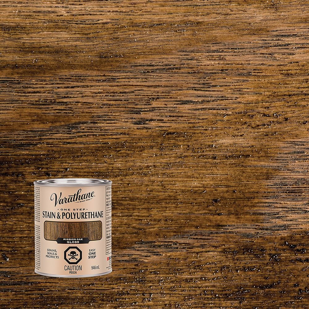 Varathane Stain & Poly One Step Oil-Based Stain & Polyurethane In Satin Mission Oak, 946 Ml