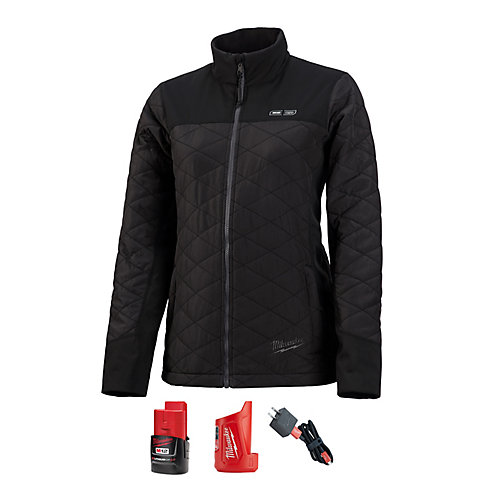 Women's Medium M12 12-Volt Lithium-Ion Cordless AXIS Black Heated Quilted Jacket w/ 2.0Ah Battery