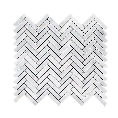 Carreau de pierre à marbrures en marbre à chevrons blanc de 10 po x 11 po x 6 mm