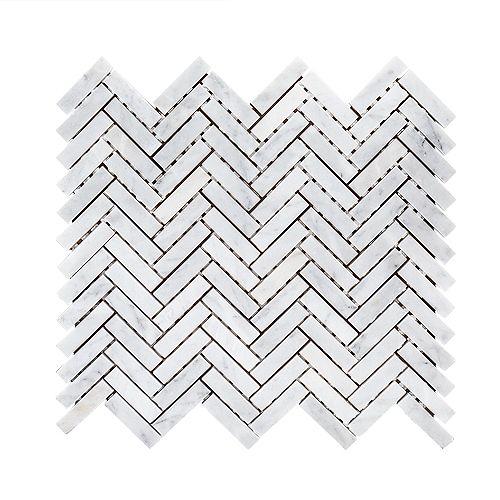 Steamboat White Herringbone 10-inch x 11-inch x 6 mm Marble Stone Mosaic Tile
