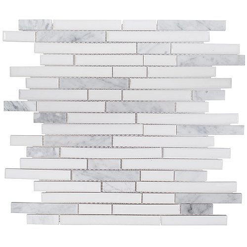 Spearmint White Interlocking 11.5-inch x 11.875-inch x 6 mm Ceramic Mosaic Tile