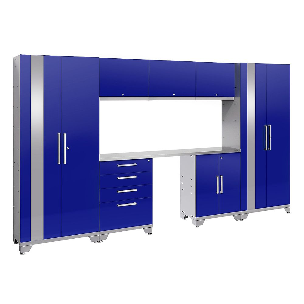 NewAge Products Inc. Performance 2.0 Storage Cabinets in Blue (8-Piece Set)