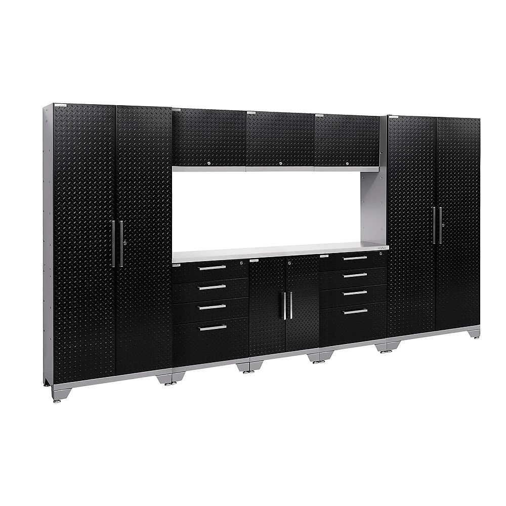 NewAge Products Inc. Performance 2.0 Diamond Plate Storage Cabinets in Black (9-Piece Set)