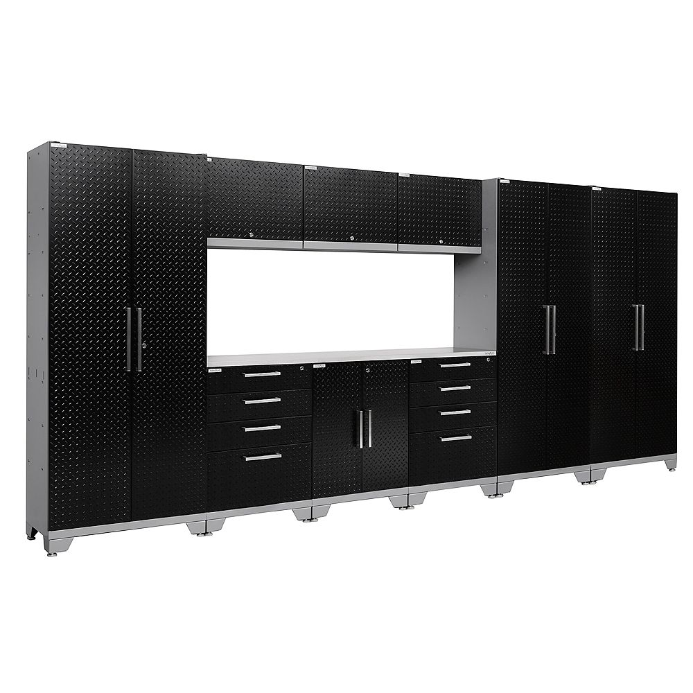 NewAge Products Inc. Performance 2.0 Diamond Plate Black Garage Cabinet Set (10-Piece)