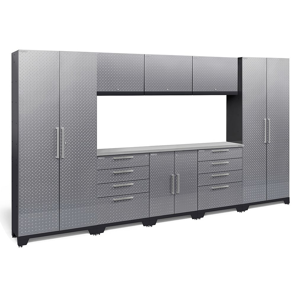 NewAge Products Inc. Performance 2.0 Diamond Plate Storage Cabinets in Silver (9-Piece Set)