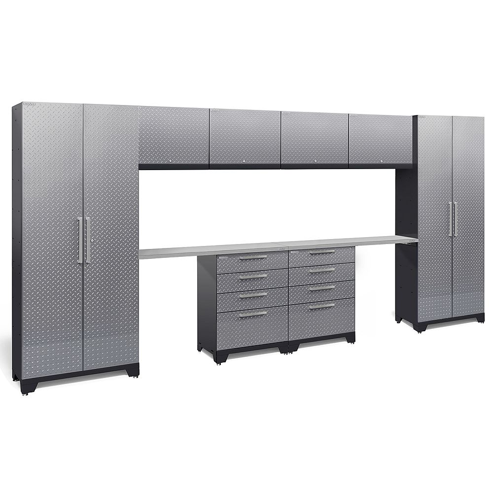 NewAge Products Inc. Performance 2.0 Diamond Plate Storage Cabinets in Silver (10-Piece Set)