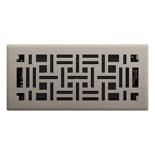 Registre de plancher Métiers d'art - Nickel satiné 4 po x 10 po