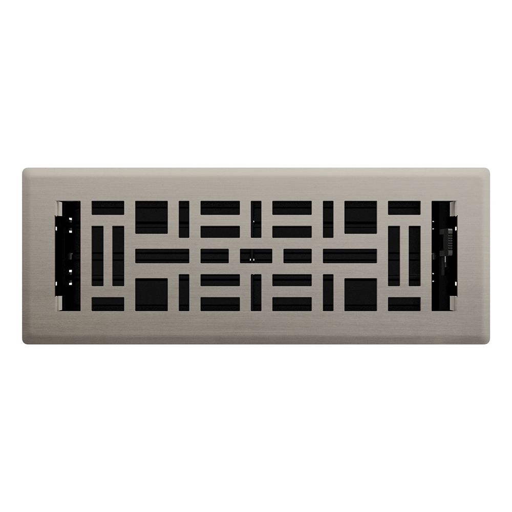 Hampton Bay Registre de plancher Métiers d'art - Acier brossé 3po x 10 po