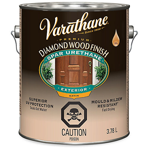 Premium Diamond Wood Finish For Outdoor, Oil-Based In Satin Clear, 3.78 L