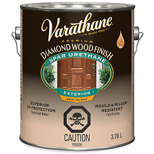 Premium Diamond Wood Finish For Outdoor, Oil-Based In Semi-Gloss Clear, 3.78 L