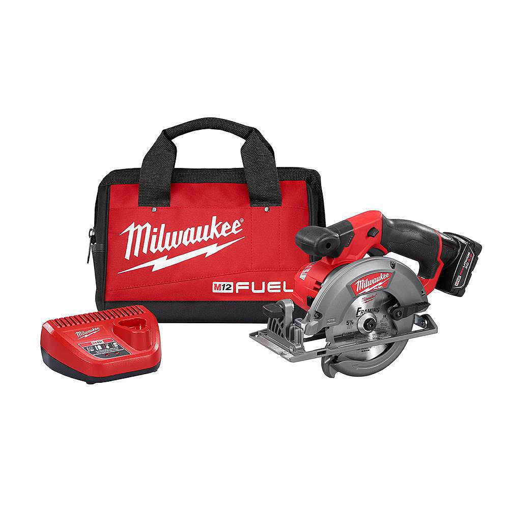 Milwaukee Tool M12 FUEL 12V Lithium-Ion Brushless Cordless 5-3/8-inch Circular Saw Kit w/ 4.0Ah Battery & Bag