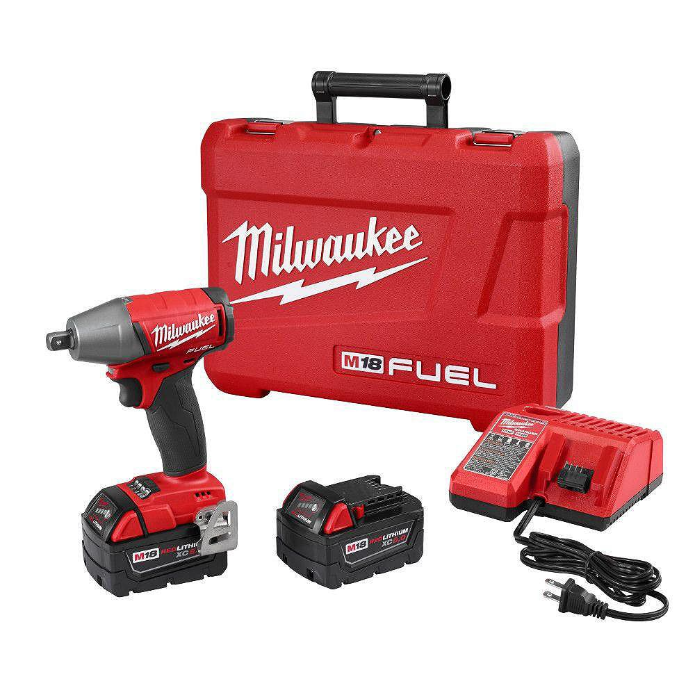 Milwaukee Tool M18 FUEL 18-Volt Lithium-Ion Brushless Cordless 1/2-Inch Impact Wrench Kit w/ (2) 5.0Ah Batteries