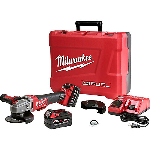 M18 FUEL 18V Lithium-Ion Brushless Cordless 4-1/2 in./5in. Braking Grinder Kit w/ (2)5.0Ah Batteries