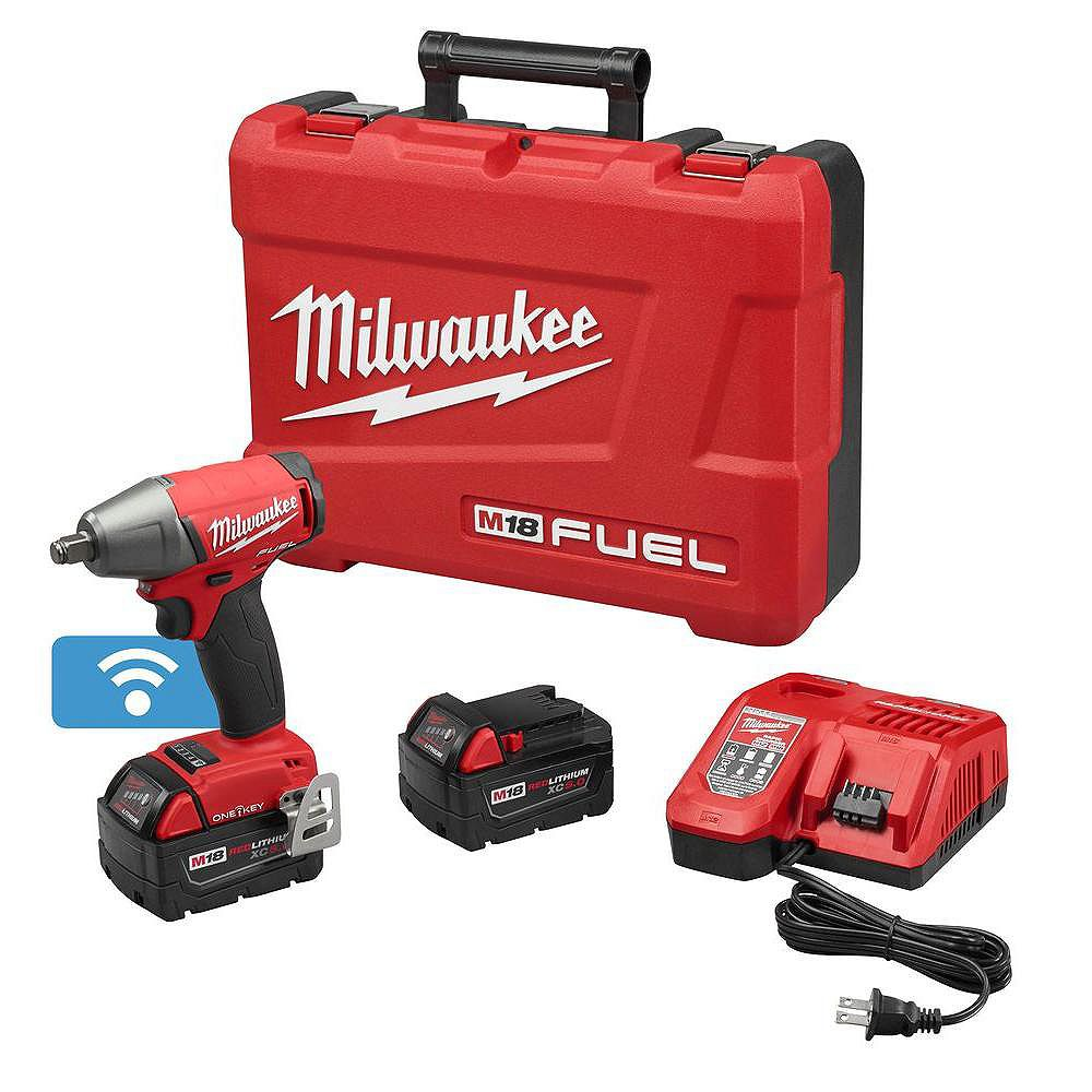Milwaukee Tool M18 FUEL ONE-KEY 18-Volt Lithium-Ion Brushless Cordless 1/2-inch Impact Wrench w/ (2) 5.0Ah Batteries