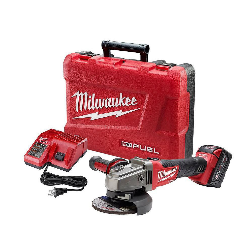 Milwaukee Tool M18 FUEL 18-Volt Lithium-Ion Brushless Cordless 4-1/2 in. /5 in. Grinder Kit W/ 5.0Ah Battery