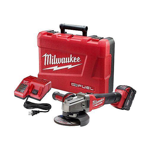 Milwaukee Tool Ens.meuleuse M18 FUEL, sans fil sans balais, Li-ion,18 V,5 Ah, interrupteur coulissant, 4 1/2 po,5po