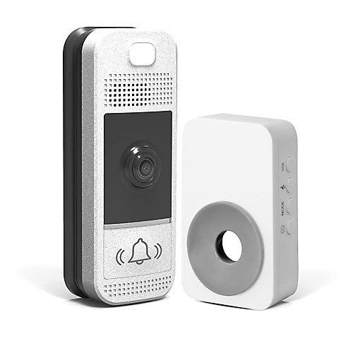 Wifi-Enabled Video Doorbell in Bright Silver with Wireless Chime