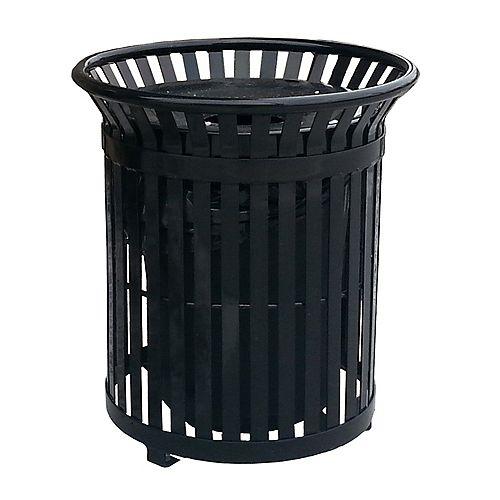 Poubelle extérieure en acier de 34 gal. avec couvercle en acier et revêtement intérieur, noir