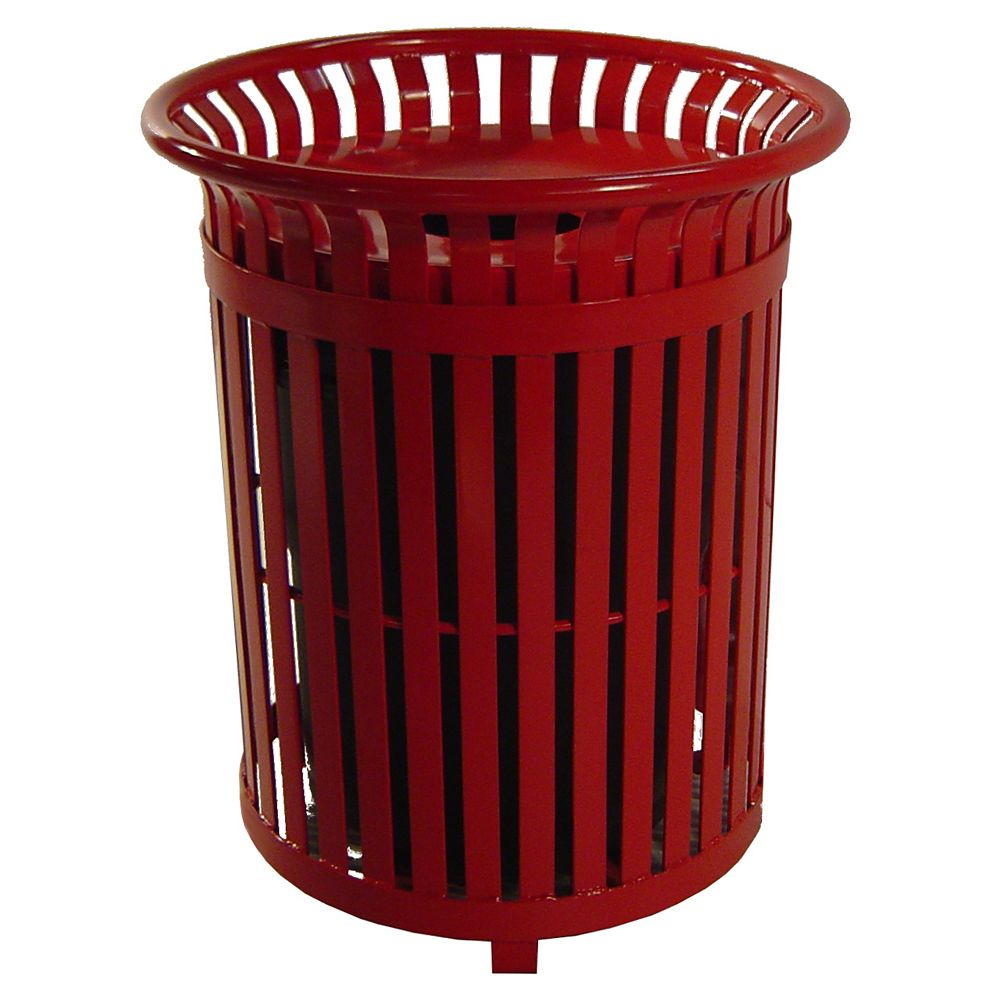 Paris 34 Gal. Red Steel Outdoor Trash Can with Steel Lid and Plastic Liner