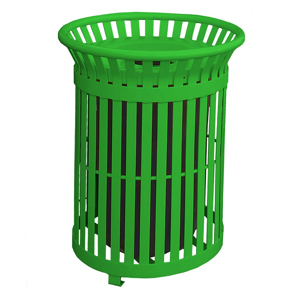 Paris 34 Gal. Light Green Steel Outdoor Trash Can with Steel Lid and Plastic Liner