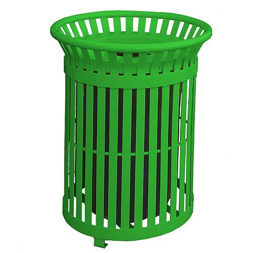 Poubelle extérieure en acier de 34 gal. avec couvercle en acier et revêtement intérieur, vert pâle