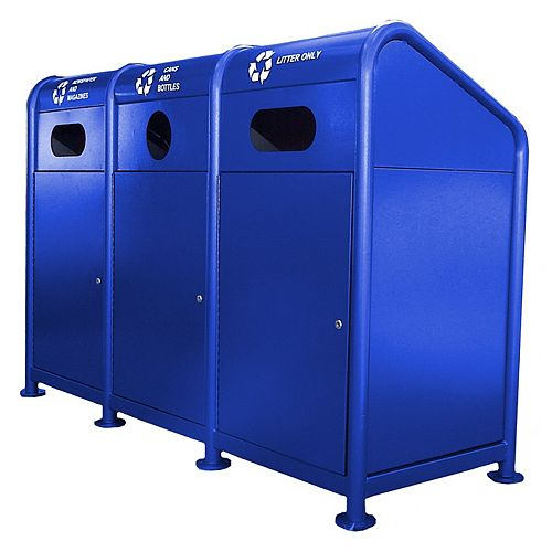 Station de recyclage en acier 102 gallons, bleu