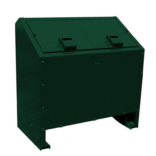 68 Gal. Metal Animal Proof Trash Can in Green