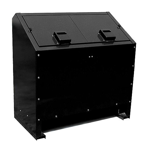 68 Gal. Metal Animal Proof Trash Can in Black