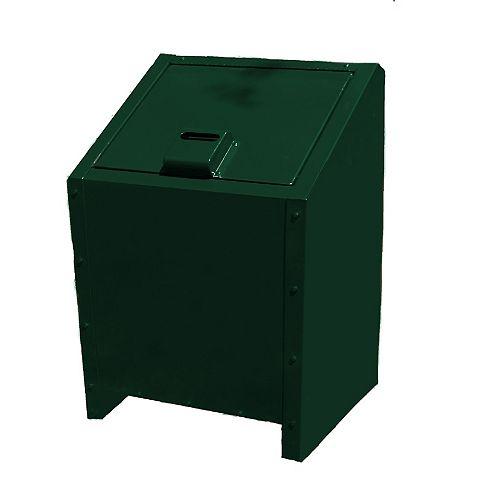 34 Gal. Metal Animal Proof Trash Can in Green