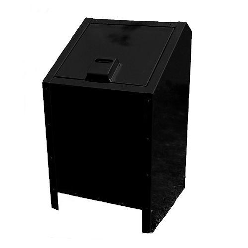 34 Gal. Metal Animal Proof Trash Can in Black