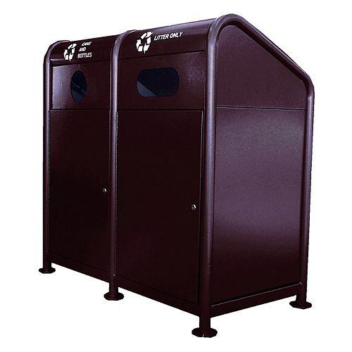 Station de recyclage en acier 68 gallons, brun