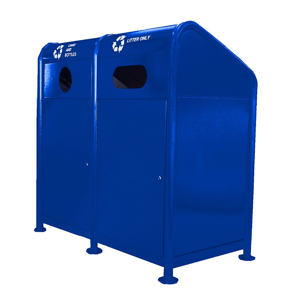 Paris 68 Gal. Steel Recycling Station in Blue