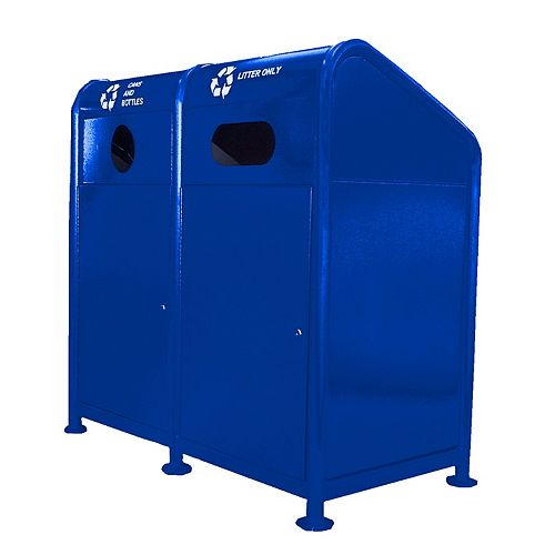 Station de recyclage en acier 68 gallons, bleu