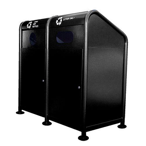 Station de recyclage en acier 68 gallons, noir