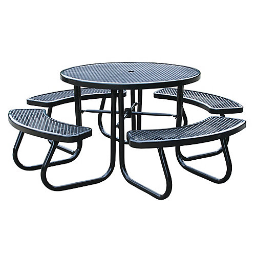 46 inch Black Picnic Table with Built-In Umbrella Support