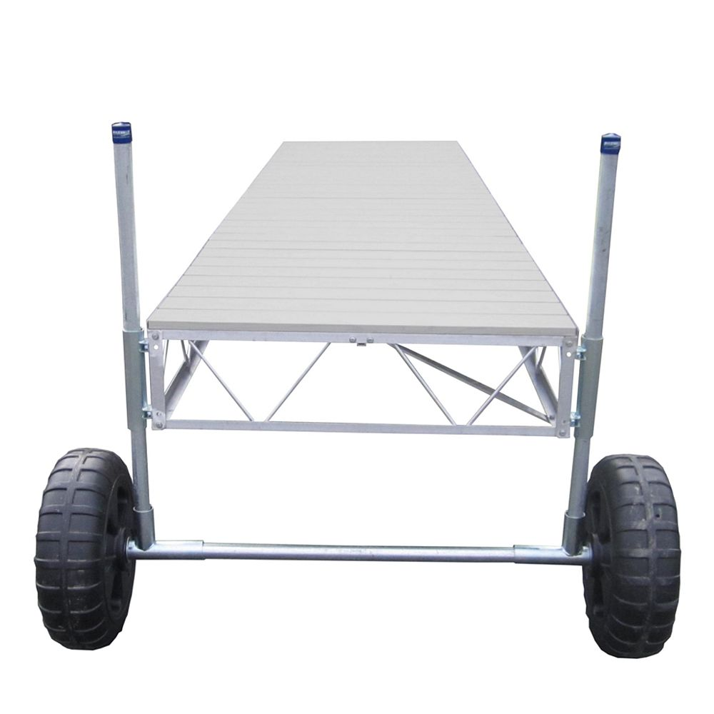 Patriot Docks 32 ft. Straight Roll-In Dock with Gray Aluminum Decking