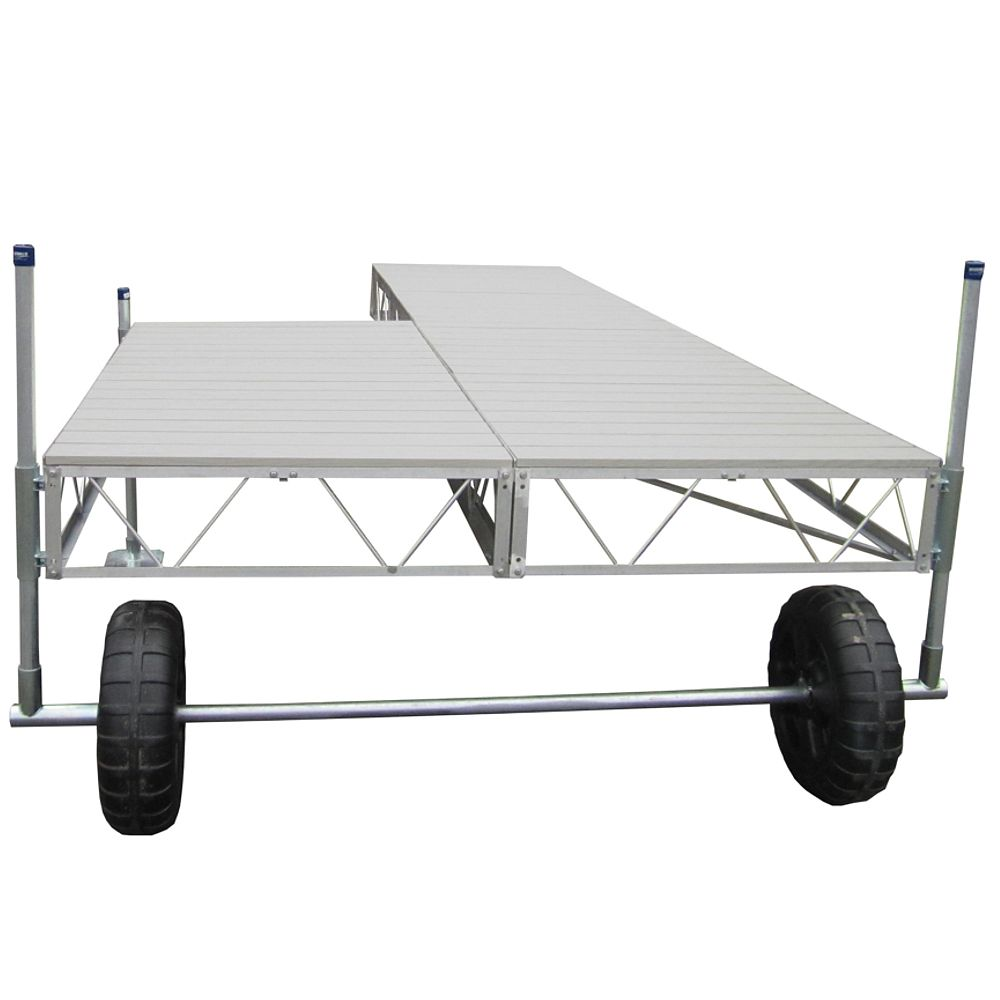 Patriot Docks 40 ft. Patio Roll-In Dock with Gray Aluminum Decking