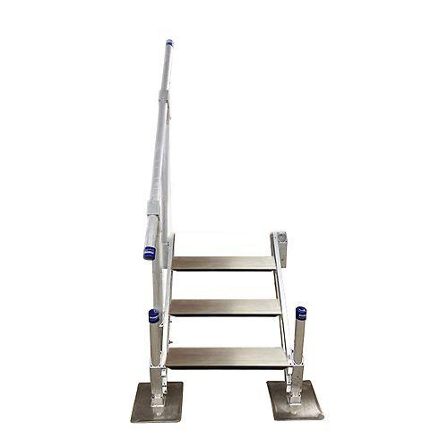 Escalier en aluminium à troismarches avec rampe