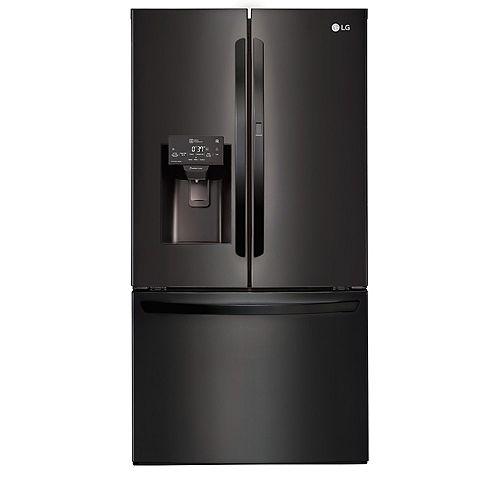 36-inch W 28 cu. ft. French Door Refrigerator with with Door-in-Door® in Matte Black Stainless Steel - ENERGY STAR®